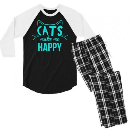 Cats Make Me Happy Men's 3/4 Sleeve Pajama Set Designed By S4bilal