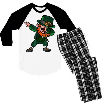 Dabbing Leprechaun Shirt For St Patricks Day Gift Men's 3/4 Sleeve Pajama Set Designed By Hoainv