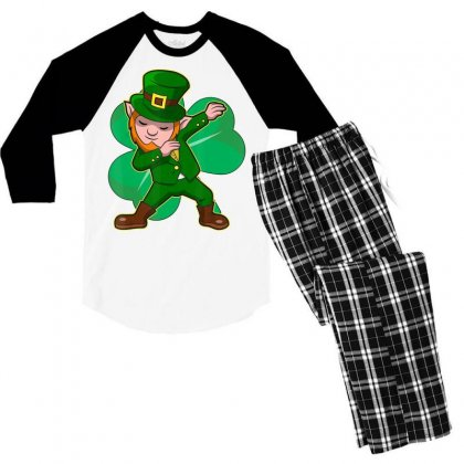 Dabbing Leprechaun Shirt Funny Dab St Patrick Day Gift Idea T Shirt Men's 3/4 Sleeve Pajama Set Designed By Hoainv
