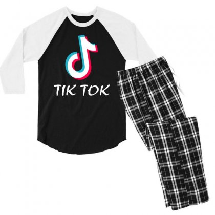 Tik And Tok Men's 3/4 Sleeve Pajama Set Designed By Swan Tees