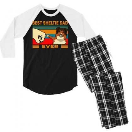 Best Sheltie Dad Ever Men's 3/4 Sleeve Pajama Set Designed By Tht