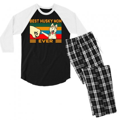 Best Husky Mom Ever Men's 3/4 Sleeve Pajama Set Designed By Tht