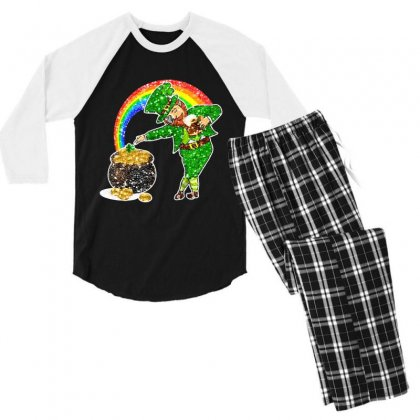 Dabbing Leprechaun Shirt Rainbow Shamrock Patricks Day Men's 3/4 Sleeve Pajama Set Designed By Hoainv