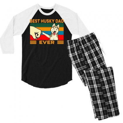 Best Husky Dad Ever Men's 3/4 Sleeve Pajama Set Designed By Tht