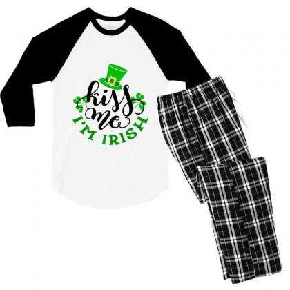 Kiss Me Im Irish, St Patrick's Day Men's 3/4 Sleeve Pajama Set Designed By Theblackcatprints