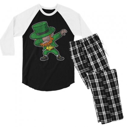 Dabbing Leprechaun Shirt St Patricks Day Kids Boys Women Men Men's 3/4 Sleeve Pajama Set Designed By Hoainv