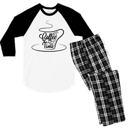 Coffee Time Black Men's 3/4 Sleeve Pajama Set Designed By Tht