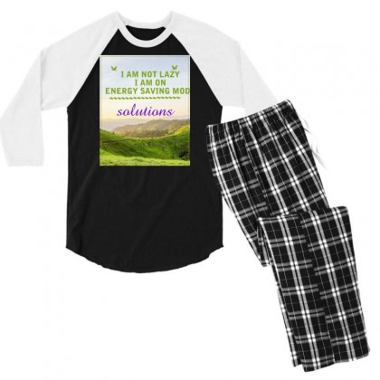 I Am Not Lazy Men's 3/4 Sleeve Pajama Set Designed By Darshan International