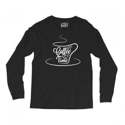 Coffee Time White Long Sleeve Shirts Designed By Tht
