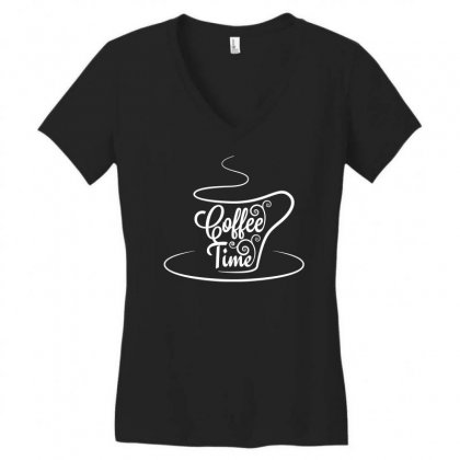 Coffee Time White Women's V-neck T-shirt Designed By Tht