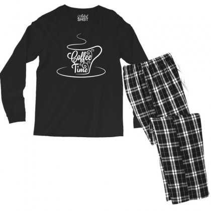Coffee Time White Men's Long Sleeve Pajama Set Designed By Tht