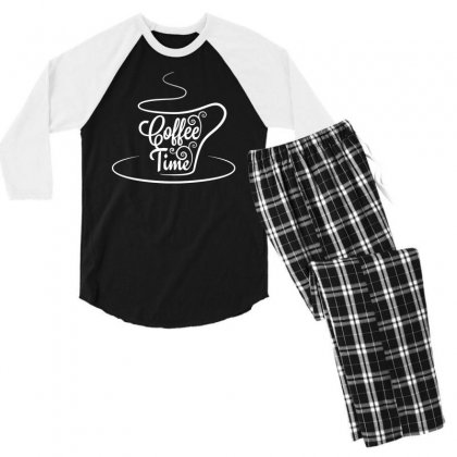 Coffee Time White Men's 3/4 Sleeve Pajama Set Designed By Tht