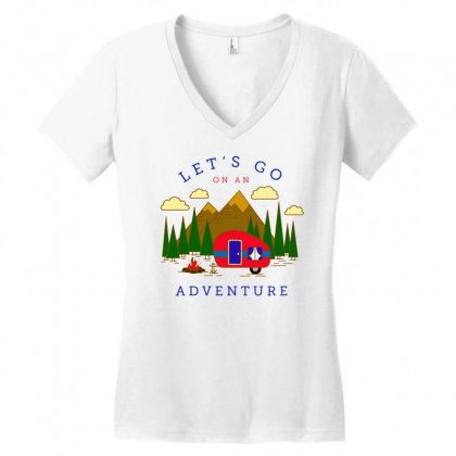 An Adventure Women's V-neck T-shirt Designed By Tht