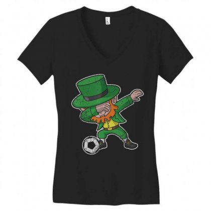 Dabbing Leprechaun Soccer Irish Football St Patricks Day T Shirt Women's V-neck T-shirt Designed By Hoainv
