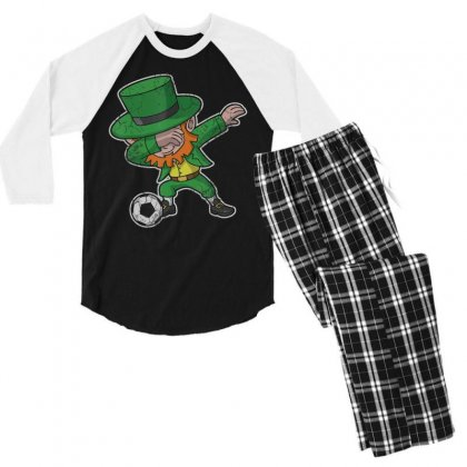 Dabbing Leprechaun Soccer Irish Football St Patricks Day T Shirt Men's 3/4 Sleeve Pajama Set Designed By Hoainv