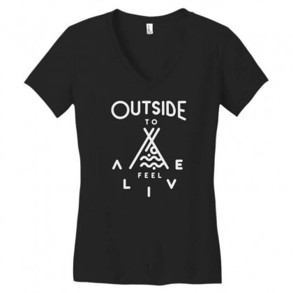 Awesome Outside Women's V-neck T-shirt Designed By Tht