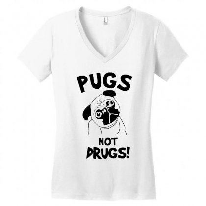 Love Pugs Women's V-neck T-shirt Designed By Tht