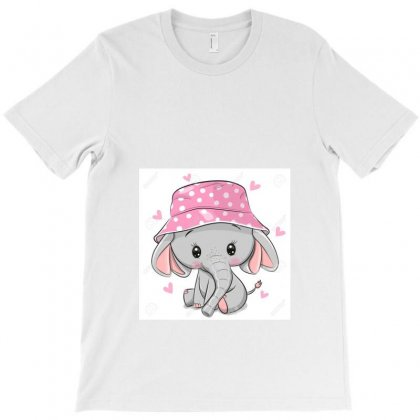 129328439 Cute Cartoon Elephant In A Pink Panama Hat Isolated On A Whi T-shirt Designed By Linda