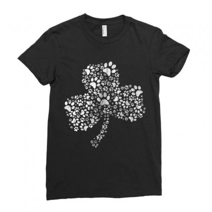 Dog Paw Shamrock Saint Patricks Tshirt Dog Lover Clover Gift T Shirt Ladies Fitted T-shirt Designed By Hoainv