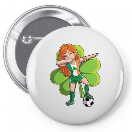 Dabbing Soccer Girl St Patricks Day Kids Women Ireland Flag T Shirt Pin-back Button Designed By Hoainv