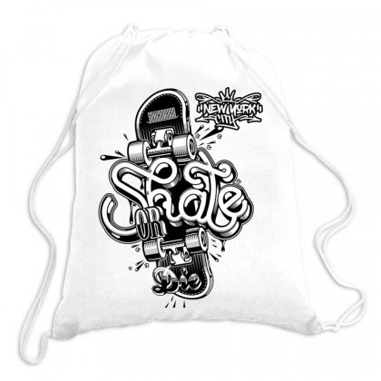 Skate Or Die New York City Drawstring Bags Designed By Tiococacola