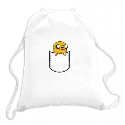 Adventure Time Pocket Jake Drawstring Bags Designed By Butterfly99