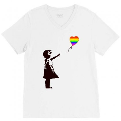 Banksy   Girl With Balloon Art V-neck Tee Designed By Butterfly99