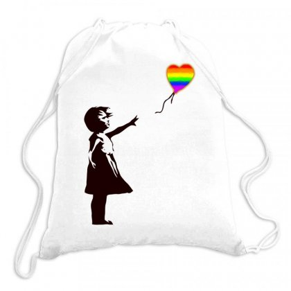 Banksy   Girl With Balloon Art Drawstring Bags Designed By Butterfly99