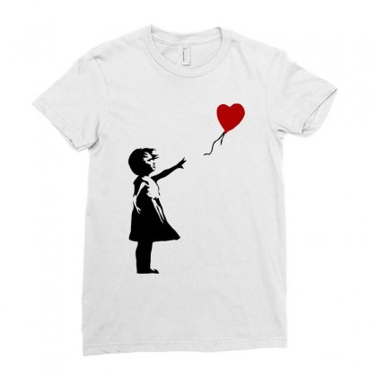 Banksy   Girl With Balloon Ladies Fitted T-shirt Designed By Butterfly99