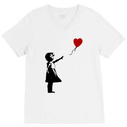 Banksy   Girl With Balloon V-neck Tee Designed By Butterfly99