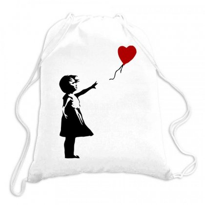 Banksy   Girl With Balloon Drawstring Bags Designed By Butterfly99