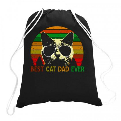 Best Cat Dad Ever   Vintage Retro Cat Father Gift Men Drawstring Bags Designed By Butterfly99