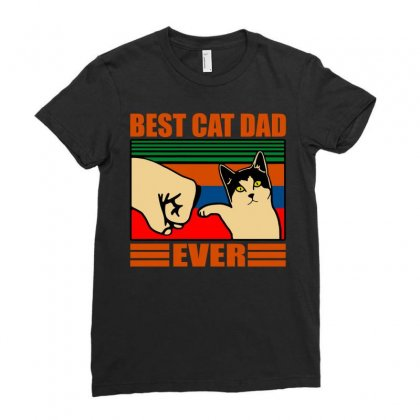 Best Cat Dad Ever Ladies Fitted T-shirt Designed By Butterfly99