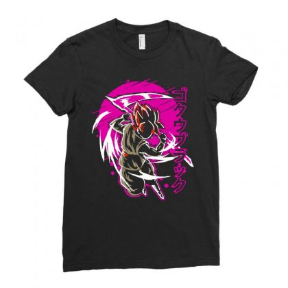 Black Goku Ladies Fitted T-shirt Designed By Butterfly99