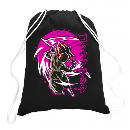 Black Goku Drawstring Bags Designed By Butterfly99