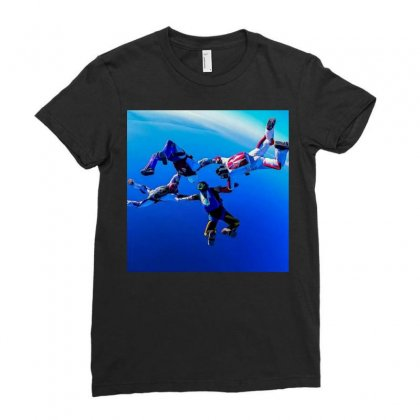 Sky Diving Ladies Fitted T-shirt Designed By Vj575789
