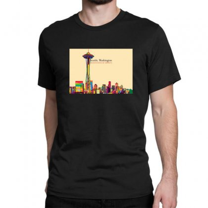 Seattle Skyline Classic T-shirt Designed By Sr88