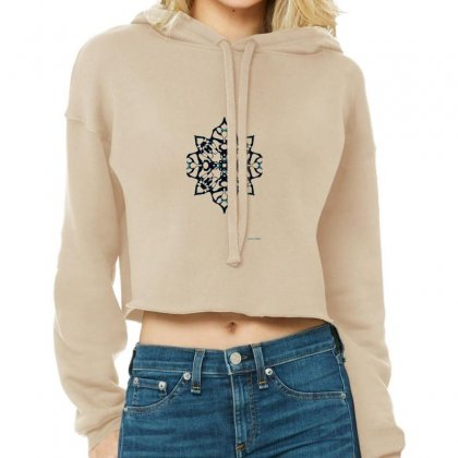 Black Snowflake Cropped Hoodie Designed By Lyrielll