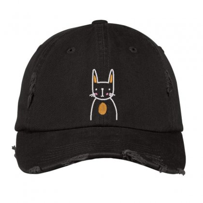 Cute Cat Distressed Cap Designed By Madhatter
