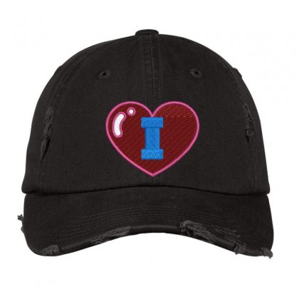 I Logo Distressed Cap Designed By Madhatter