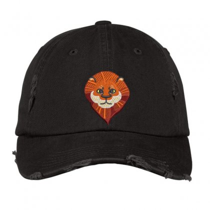 Cute Lion Distressed Cap Designed By Madhatter