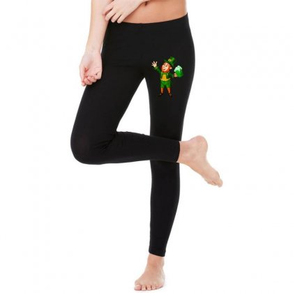St Patricks Day Green Beer Leprechaun Legging Designed By Ninja Art
