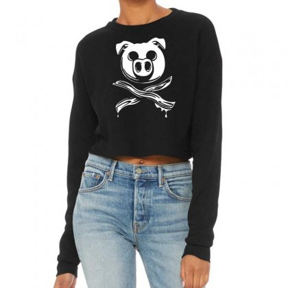 Pig Bacon Cross Bones Pirate Cropped Sweater Designed By Funtee