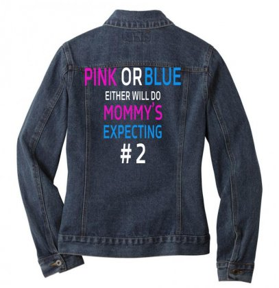 Pink Or Blue Mommy Is Expecting Number 2 New Ladies Denim Jacket Designed By Funtee