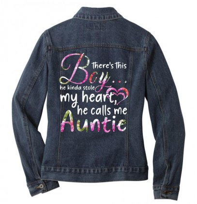 There's This Boy He Is Stolen My Heart He Calls Me Auntie Ladies Denim Jacket Designed By Hoainv