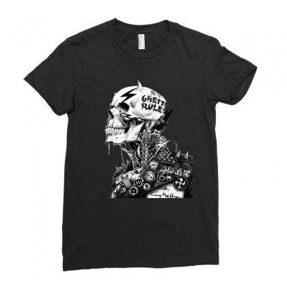 Punk Rock Drawing Skull Ladies Fitted T-shirt Designed By Ninja Art