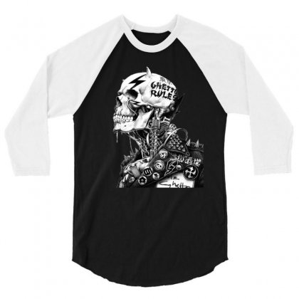 Punk Rock Drawing Skull 3/4 Sleeve Shirt Designed By Ninja Art