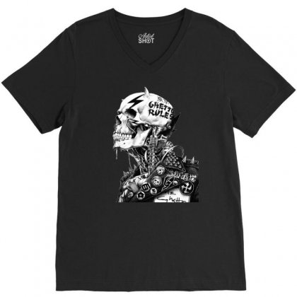 Punk Rock Drawing Skull V-neck Tee Designed By Ninja Art