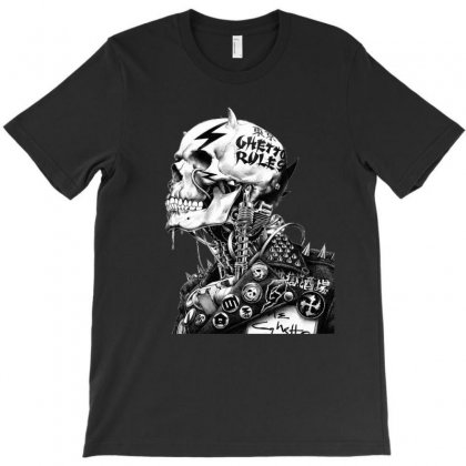 Punk Rock Drawing Skull T-shirt Designed By Ninja Art