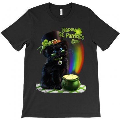 St Patrick's Day Black Cat T-shirt Designed By Ninja Art